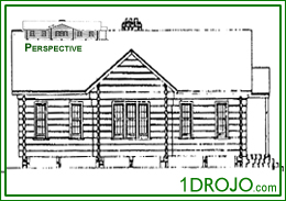 Free Building Plans and Free Architectural Drawings for Green Community Center with playhouse stage, dressing room, industrial kitchen and cloakroom.