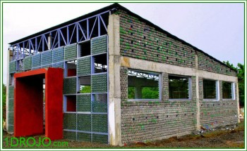 8000 2-liter plastic bottles can be recycled and used to make a classroom or workroom.